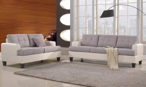 Classic 2 Tone Linen Loveseat Living Room Set