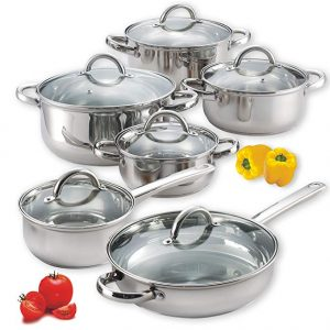 Cook N Home 12-piece stainless steel cookware