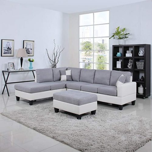 Divano Roma Leather Living Room Sectional Sofa