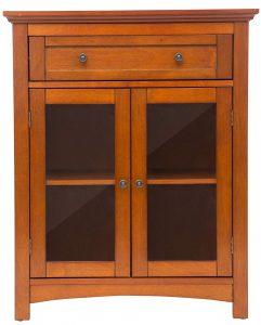 "Glitzhome 32"" H Wooden Shelved Floor Storage Cabinet"