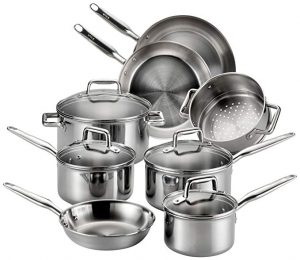 T-fal stainless steel cookware, 12 pieces