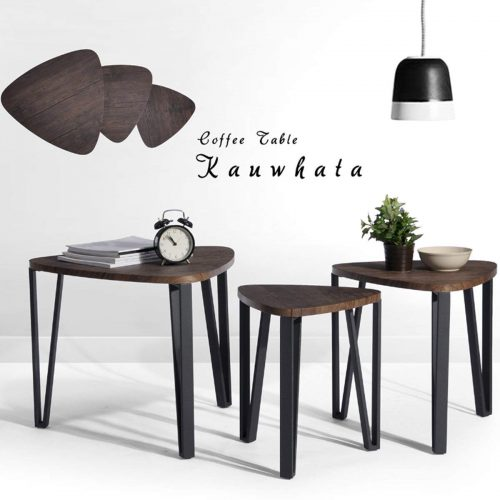 The 3 in 1 Coffee Wood Table Set for Living Room, Balcony or Office