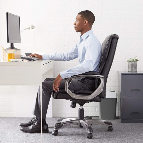 AmazonBasics Executive Lumber Support Office Chair for elegant look and comfort.