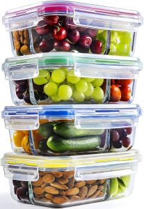 Glass meal prep containers, chef fresh packs