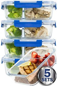 Misc Home larger premium 5 set glass meal prep container