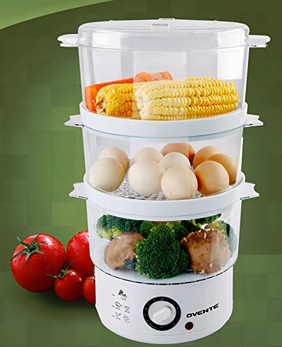 Ovente 3-tier electric steamer for food and vegetables