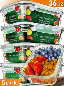 Prep Naturals 5-pack, glass meal prep containers