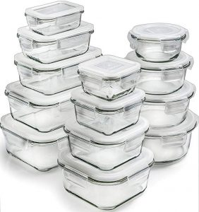 Prep Naturals Glass storage containers, 13 packs