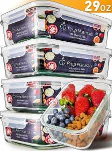 Prep naturals glass meal prep containers, 5 packs