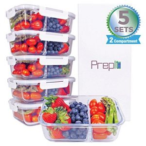 Prepit, 5-pack premium glass metal prep containers