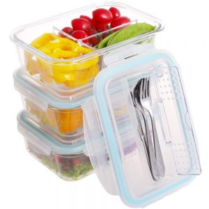 S Salient glass meal prep containers 3 compartment