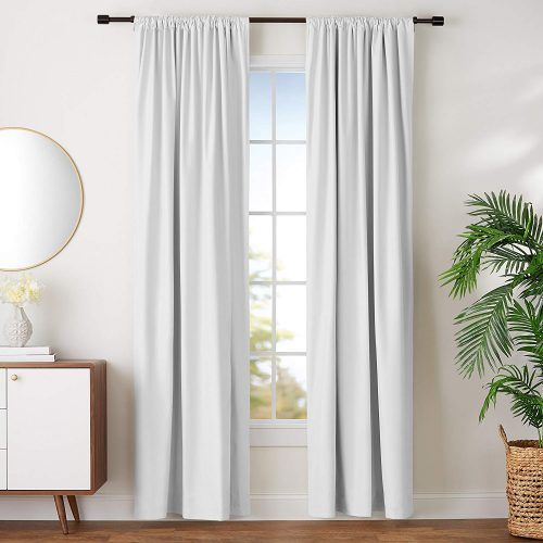AmazonBasics Blackout Curtain Set - 52 x 96 Inch Curtain White