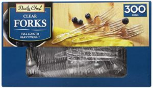 Daily Chef Clear plastic forks heavyweight, 300 count