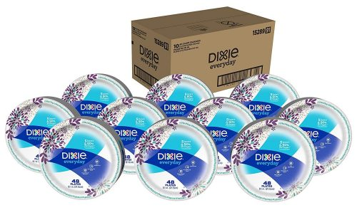 Dixie Everyday Paper Plate Disposable, 10 Packs of 48 Disposable Plates