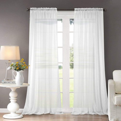 Dreaming Casa Solid Sheer 96 Inchh Curtains Draperie white Rod Pocket Two Panels