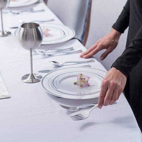Elegant Plastic Dinnerware & Cutlery Set Service Disposable Plates