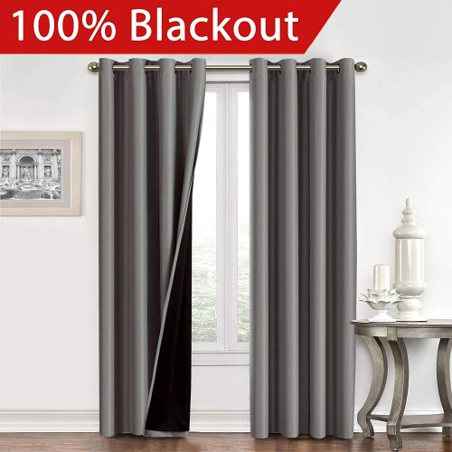 Flamingo P Full Blackout Grey Curtains, a 96 Inch Curtain Window Treatment Panels