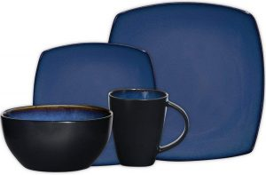 Gibson Elite 61221 .16 RM 16-piece square reactive glaze dinnerware set