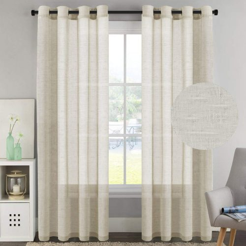 H.VERSAILTEX 52 by 96 Inch Curtain Set of 2 Made of Rich Linen Poly Mixed Sheer Drapery Curtain Panels