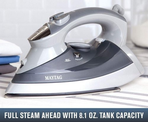 Maytag M400 Speed Heat Steam Iron & Vertical Steamer with Stainless Steel Sole Plate, Self Cleaning Function