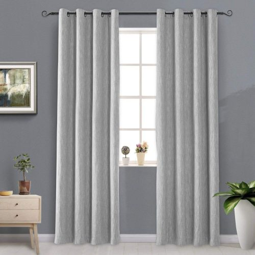 Melodieux Elegant Cotton Blackout Thermal Insulated Grommet Top Curtains