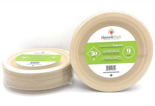 Natural Sugarcane Bagasse Bamboo Fibers Disposable Plates