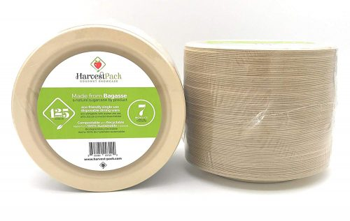 Natural Sugarcane Bagasse Bamboo Fibers Sturdy Seven Inch Disposable Plates