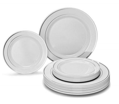 OCCASIONS 120-Piece Pack Premium Disposable Plastic Plates