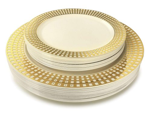 OCCASIONS 50 Piece China Like Wedding Disposable Plastic Plates