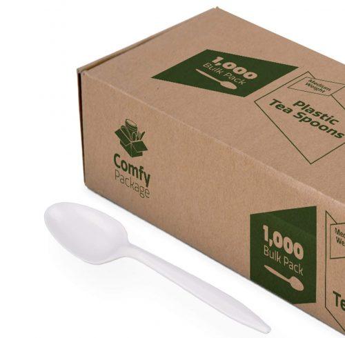 Plastic Tea Spoons Medium Weight - White (1000 Count)