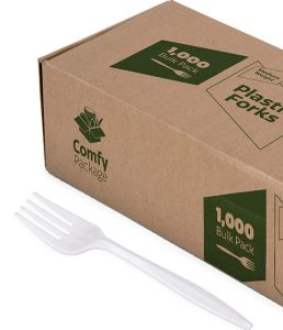 Plastic forks medium weight by Comfy Package