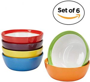 Premium ceramic set of 6 colorful meal stoneware bowls
