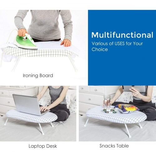 STORAGE MANIAC Tabletop Ironing Board with Folding Legs, Folding Ironing Board with Cotton Cover