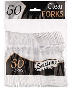 Settings Clear Plastic Cutlery Disposable forks, 50 pieces