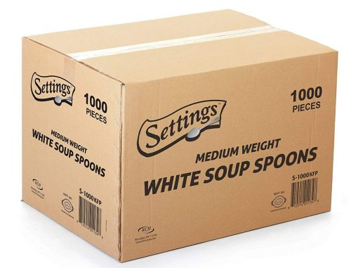 Settings Cutlery Spoons 1000 Count Disposable Plastic Spoons White
