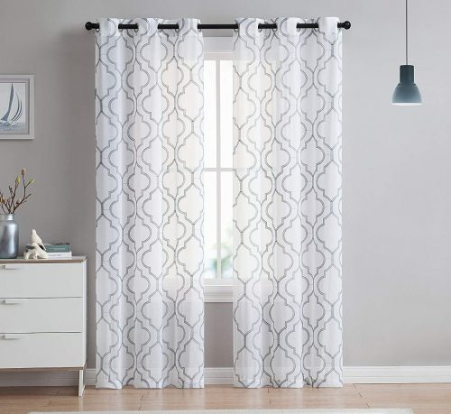 VCNY Home Charlotte Embroidered Quatrefoil Trellis Semi Sheer 96 Inch Curtain Panels