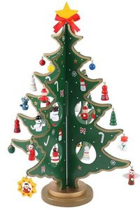 14-inch tabletop mini wooden Christmas tree by JOYIN