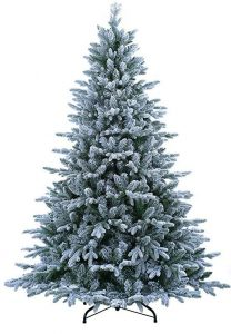 ABUSA Flocked Pre-lit artificial Christmas tree