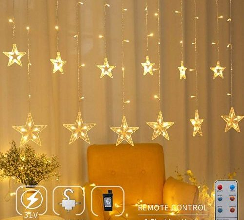 Areskey Start Christmas lights, 138 light and 12 stars