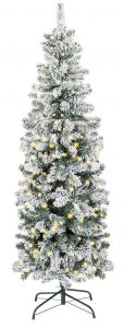 Best choice products 7.5ft pre-lit artificial snow flocked snow Christmas pencil tree
