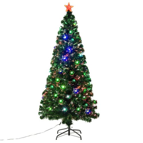 Fiber Optic Christmas Tree w: 24 LED Lights Holiday Pre-Lit Artificial