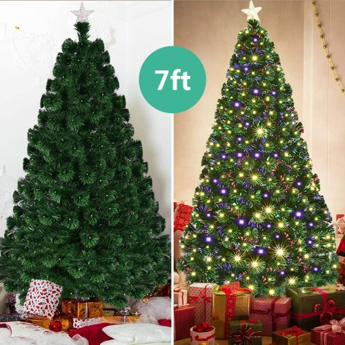 Fiber Optic Christmas Tree with Electrodeless LED Lights & Metal Stand