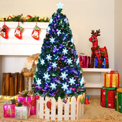 Goplus 7ft Artificial Christmas Tree pre-lit fiber Optic Premium Spruce Hinged Tree