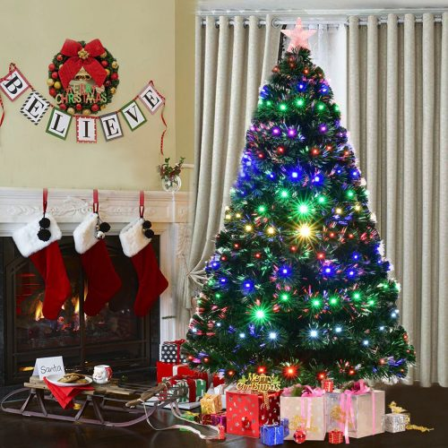 Goplus Artificial Christmas Tree pre-lit Optical Fiber Tree