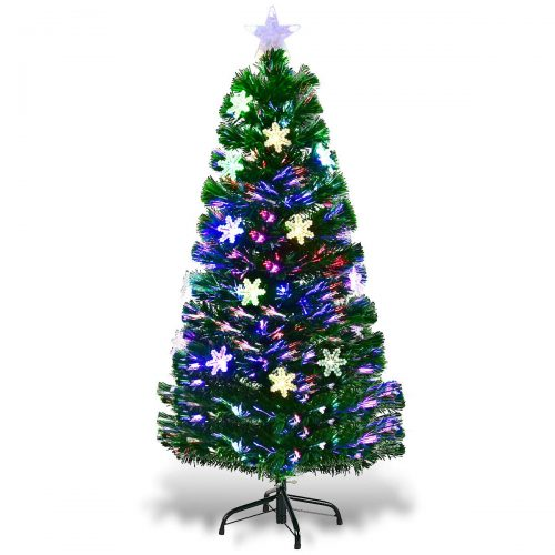 Goplus Pre-Lit Fiber Optic Christmas Tree with Multicolor Led Lights