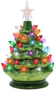 Joiedomi 9 inches Tabletop prelit ceramic Christmas tree