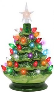 Joiedomi 9 inches tabletop pre-lit ceramic Christmas tree