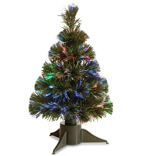 National Tree 18 Inch Fiber Optic Ice Tree in Green Stand with Multicolor Battery Operated LED Lights with Timer