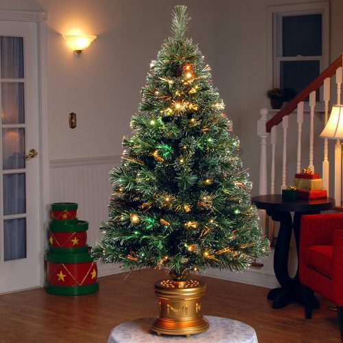 National Tree 48 Inch Fiber Optic Radiance Fireworks Tree with LED Lights in Gold Base