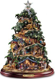 Thomas Kinkade illuminated nativity tabletop tree by Bradford Exchange
